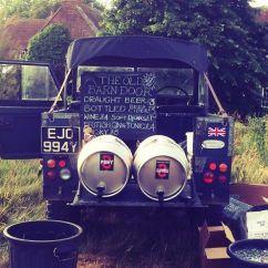 Beer on Old Barn Door Land Rover